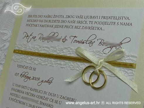 Bež zlatna pozivnica za vjenčanje s prstenom