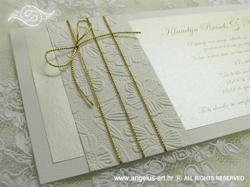 bijela krem pozivnica za vjenčanje sa zlatnim konopcem
