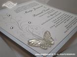 bijela pozivnica s cirkonima i leptirom u omotnici
