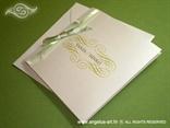 bijela pozivnica sa zelenom mašnicom i zelenim tiskom