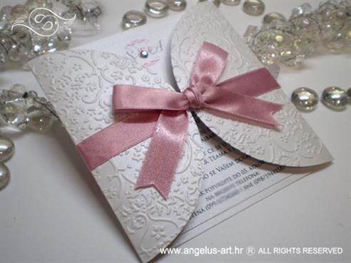 bijelo roza pozivnica za vjenčanje s mašnom i cirkonom