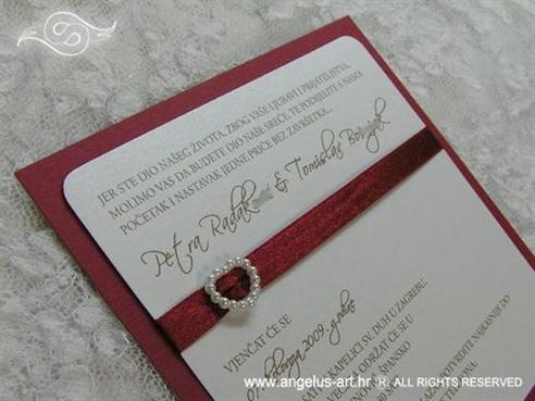 Bordo crvena pozivnica za vjenčanje