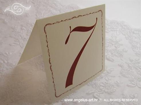 broj stola za svadbeni stol krem bordo