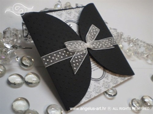 crno bijela pozivnica za vjenčanje s točkicama