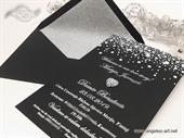 Pozivnica za vjenčanje - Black Silver Hearl Line