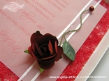 crvena ruža na ekskluzivnoj pozivnici
