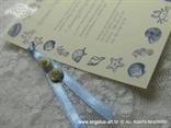 detalj morske pozivnice s školjkama i zvijezdama