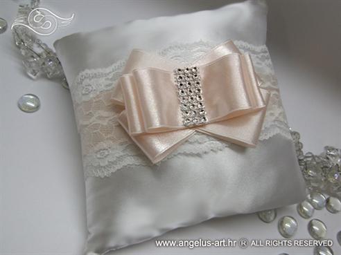 jastucic za prstenje elegantni bijelo peach