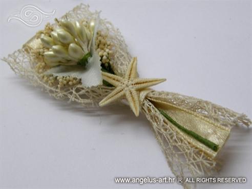 kitica za rever za vjenčanje s mrežom i morskom zvijezdom