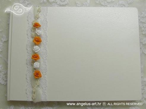 knjiga dojmova za vjenčanje s narančastim ružama