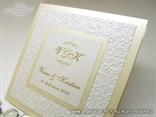 krem bijela pozivnica za vjencanje s reljefnim tiskom