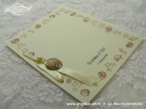 krem morska zahvalnica za vjenčanje sa školjkom i morskom zvijezdom