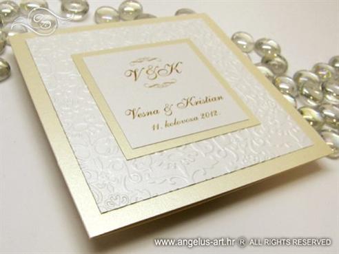 krem pozivnica za vjencanje na preklop s reljefnim tiskom