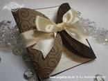 krem smeđa pozivnica za vjenčanje s 3D reljefnom strukturom