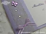 ljubičasta pozivnica s leptirom i mašnicom detalj