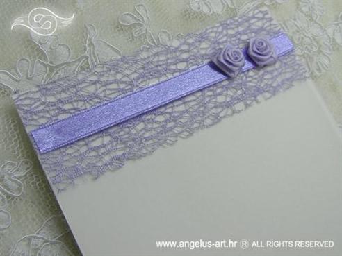 ljubičasta zahvalnica za vjenčanje s mrežom i ružama