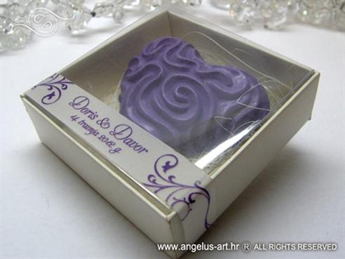 ljubičasto srce magnet za vjenčanje u kutijici