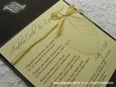 Pozivnica za vjenčanje Tamno drvo i list Classic