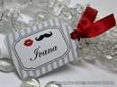 Oznaka s imenom gosta - Stripe Frame Mustache