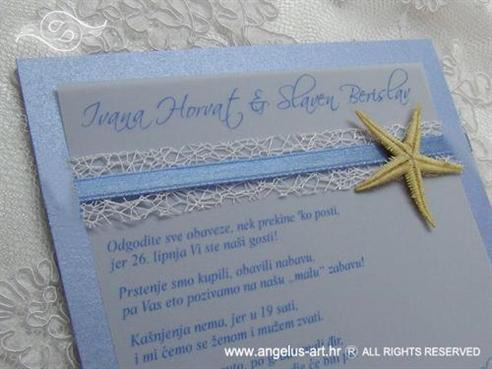 plava pozivnica s morskom zvijezdom