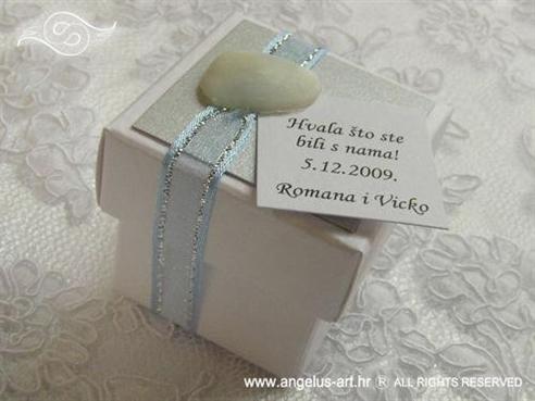 plavo srebrni konfet za vjenčanje s bombonima i školjkom
