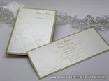 pozivnica i zahvalnica zlatna krem s 3D reljefnim uzorkom