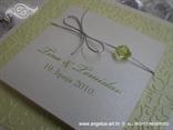 pozivnica na rasklapanje zeleno bijela sa srebrnom mašnicom