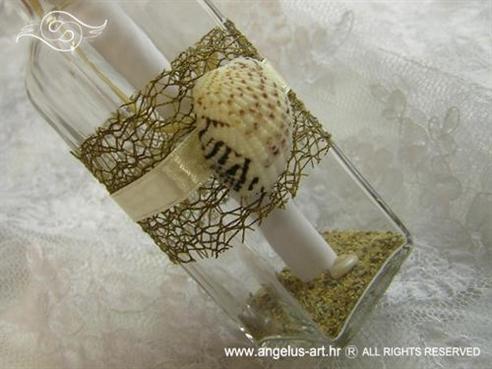 pozivnica u boci smeđa sa školjkom i pijeskom