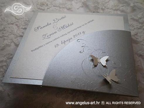 pozivnica u obliku dijamanta srebrna s leptirima