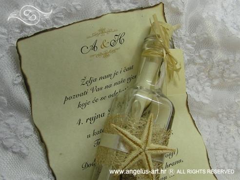 pozivnica za vjenčanje morska boca sa spaljenim papirom