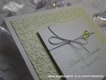 pozivnica za vjenčanje na rasklapanje zeleno bijela sa srebrnom mašnicom