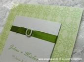 Pozivnica za vjenčanje Trendy Zelena kopča