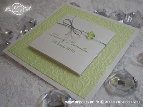 pozivnica za vjenčanje zeleno bijela s perlicom na rasklapanje
