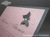 Pozivnica za vjenčanje Pink Butterfly Line