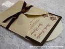Pozivnica za vjenčanje Brown Damask Mini Beauty