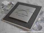 srebrna pozivnica za vjenčanje s 3D reljefnim tiskom