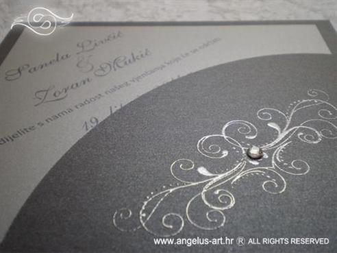 srebrna pozivnica za vjenčanje s cirkonom i 3D srebrnim izbočenim tiskom