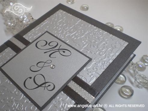 srebrna zahvalnica tvrdih korica s cirkonom i 3D reljefnim tiskom