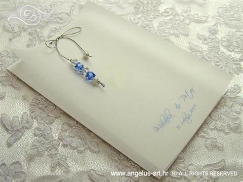 zahvalnica za vjenčanje s plavim i prozirnim perlicama