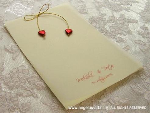 zahvalnica za vjenčanje sa zlatnom mašnicom i srcima