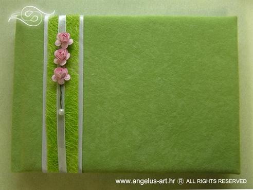 zelena knjiga dojmova za vjenčanje s rozim ružama