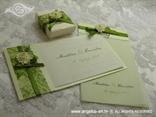 zelena pozivnica s cvijetom i mrežom komplet sa zahvalnicom