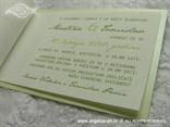 zelena pozivnica za vjenčanje zelena mreža i mašnica s tiskom