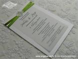 zeleno bijela pozivnica s ružom