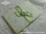 zeleno bijela pozivnica za vjenčanje s perlicama