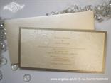 zlatna pozivnica za vjenčanje sa šampanj kuvertom i tiskom