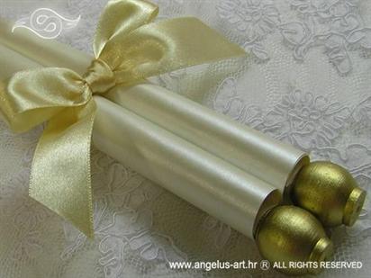 zlatna rolana pozivnica za vjenčanje