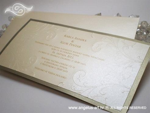 zlatno krem pozivnica za vjenčanje s 3D tiskom